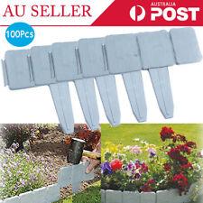 100X Plastic Garden Edging Plant Flower Lawn Fence Path Border Stone Effect AU