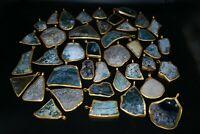 Big Lot Sale 42 Pcs Ancient Roman Glass Pendants with Gold Plated Metal Mounts