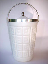Vtg Deco Mid Century Modern Large WhiteIce Bucket Champagn Lustro Ware w/ Tong