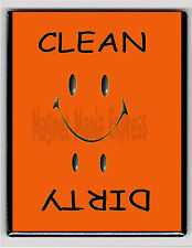METAL DISHWASHER MAGNET Image Of Orange Smiley Face Clean Dirty Dishes MAGNET X