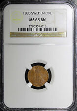 New listing Sweden Oscar Ii Bronze 1885 1 Ore Ngc Ms65 Bn Km#750