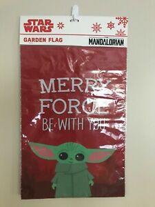 """DISNEY Star Wars - Baby Yoda 12"""" x 18"""" Garden Flag - Merry Force Be With You"""