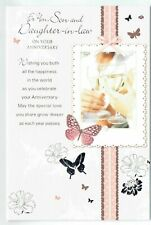 Son And Daughter In Law Anniversary Card With Sentiment Verse And Butterflies