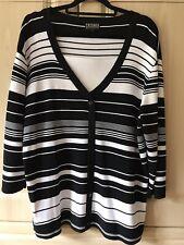 CASAMIA - Black & White Striped Top - Size L - NEW!
