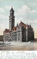 Detroit Michigan~Post Office~Bicycle Across Street~1906 Postcard