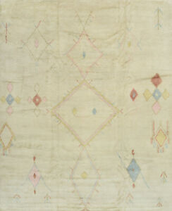 Moroccan Beni Ourain Rug, 12'x15', Ivory, Hand-Knotted Wool Pile