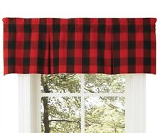 RED BLACK BUFFALO CHECK VALANCE : CABIN LODGE PLAID COUNTRY WINDOW PARK DESIGNS