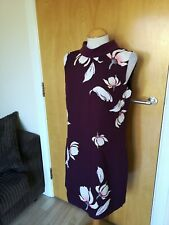 Ladies OASIS Dress Size 12 Burgundy Wide Fit Smart Party Office Work