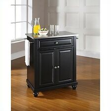 Crosley Furniture Cambridge Stainless Steel Top Black Island Kitchen Cart