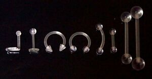 Clear Invisible Hidden Nose Tongue Bar CBB Ring Transparent Acrylic Retainer