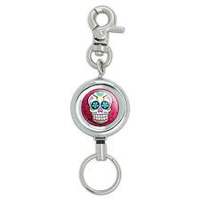 Sugar Skull Lanyard Belt ID Badge Key Retractable Reel Holder