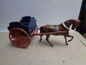 vintage Britains farm wagon, horse drawn carriage,  54mm lead, figure