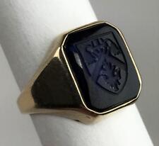 Vtg 10k Yellow Gold Blue Intaglio St Thomas University Canada Women's Ring Sz 6