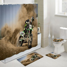 Mountain Motorcycle Shower Curtain Toilet Cover Rug Bath Mat Contour Rug Set