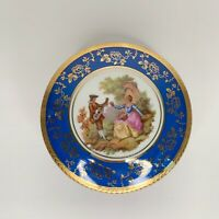 LIMOGES Blue 22K Gold Round Trinket Box Courting Couple Porcelain France