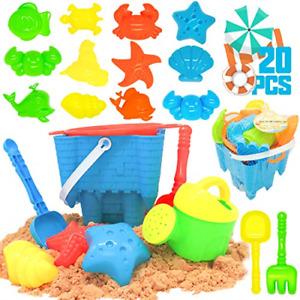 KIDPAR 20 Pcs Beach Sand Toys Set for Kids, Includes Castle Bucket, Animal Sand