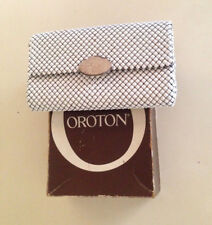 Vintage Oroton Glomesh Clutch Bag White And Silver Box