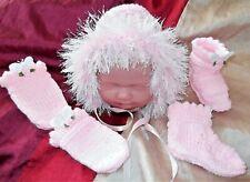 newborn Bonnet boots set 4 baby / reborn handmade pink / white butterflies roses