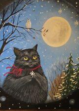 ACEO PRINT OF PAINTING RYTA CHRISTMAS BLACK CAT WINTER SNOW OWL SNOWFLAKE WISH