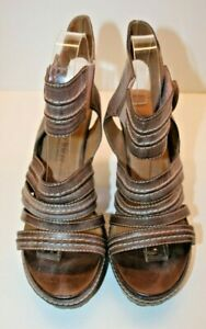 Marco Tozzi Brown Leather High Heeled Ankle Strap Open Toe Sandals UK 4/EU 37
