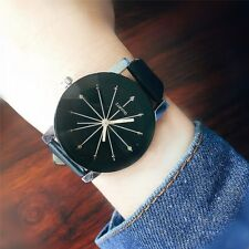 Fashion Men Women Couple Watch PU Leather Quartz Dial Wrist Watch Black White