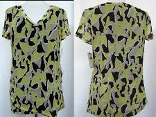 DANA BUCHMAN V-Neck Abstract Print Mesh Pullover Cap Sleeve Stretch Top Sz Large