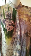 CITRON  Santa Monica Floral Asian Silk Japanese Print Shirt Top Size MEDIUM  EUC