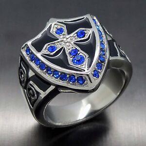 Exclusive Men's Sapphire Blue Cubic Zirconia Cross Stainless Steel Crest Ring