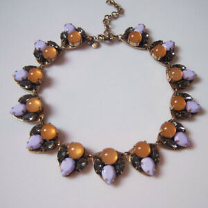 New J.CREW Multi Color Crystal motif necklace  with Pouch