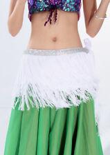 Danza Del Ventre Frange Cintura Costume Pareo Rock Carnevale Paillettes Bianco