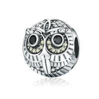 925 Sterling Silver Owl Charm European Bead Pendant Fit Bracelet Chain