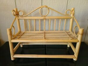 """Vintage Bamboo Wicker Rattan Shabby Cottage Rustic Hanging Wall Shelf 13"""" high"""
