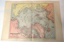 "1890s Antique ORIGINAL 15"" Map North Polar Region Arctic Ocean Greenland Sea"