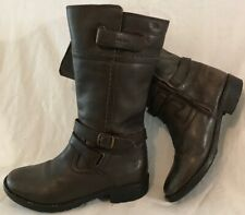 Girls Geox Dark Brown Leather Lovely Boots Size 33 (908v)