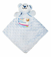 Blue Baby Soft Teddy Bear Comforter Snuggle Comfort Blanket First Newborn