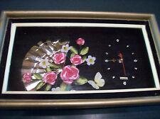 "Vtg. Quartz Silk Rose,Silver Heron Fan Clock with Gold Frame 12"" x 20"""