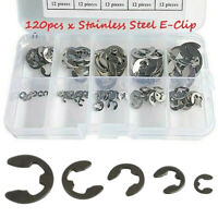 120x 1.5-10mm Inoxydable E-Clip Agrafe Circlips de Retenue Assortiment Kit Noir
