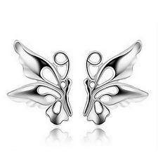 925 Sterling Silver Plated Charm Women Hollow Butterfly Ear Stud Earring Jewelry