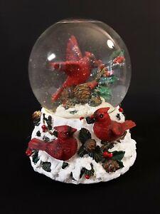 Christmas Cardinal Snowglobe Plays Joy To The World