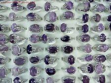 US SELLER wholesale rings 20pcs amethyst genuine gemstone fashion costume rings