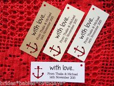 10 Kraft Gift Tags Wedding Favour Bomboniere Personalised Nautical Anchor Sailor