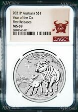 2021 Australia .9999 Bullion Silver Lunar Year of the OX NGC MS69 1oz $1 Coin