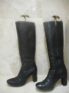 Hobbs Leather Black High Heeled Zip Boots UK 5 38