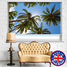 Tropical Palm Trees Blue Sky Printed Picture Photo Roller Blind Blackout Remote