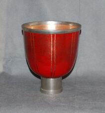 French Modern Design Metal Red Gold Enamel Copper Stem Bowl Coupe Marked Se