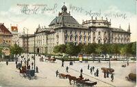 AK München, Justizpalast; Pferdefuhrwerke, gel. am 18.3.1910 nach Rosenheim