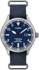 Orologio Timex TW2P64500 in pelle weekender uomo fondo blu waterbury indiglo