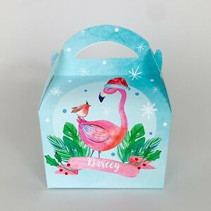 Flamingo Tropical Pink Christmas Personalised Treat Box Gift Favour Party Bag