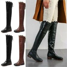 Size 34-48 Womens Thigh High Chunky Low Heel Outdoor Overknee High Biker Boots