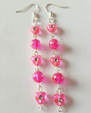 New Handmade Long Pink Acrylic Heart and Round Iridescent Beaded Dangle Earrings